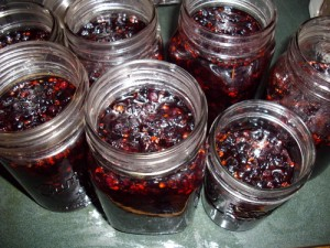 Jam jars ready for processing.