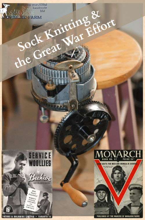 """To meet the demand, knitters at home in Canada made a relentless effort. Those who received the sock knitting machines continued to knit with wool from the Red Cross. During the war all wool was controlled by the Red Cross and rationed. """"Pink"""" knitting was frowned upon. Knitting socks with needles took about a week, and the Red Cross allowed 21 days for a handknitter to complete her socks before demanding the yarn back, to be given to another knitter. Think of your yarn stash! How wealthy we are today!"""