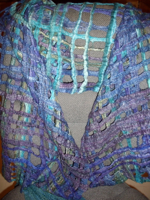 Felted lattice shawl