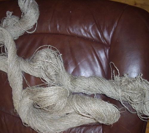 Linen yarn handspun but unscoured