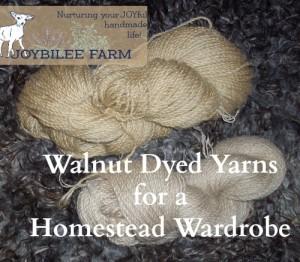 Walnut Dyed Yarns for a homestead wardrobe
