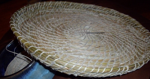 Pine needle basket progress Day 5