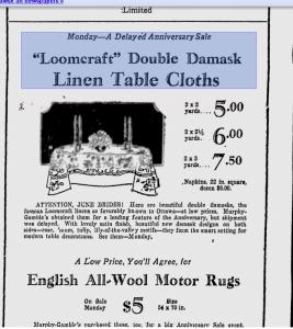Loomcraft Irish Linen Ad 1930