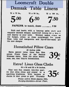 Loomcraft Irish Linen Ad 1933