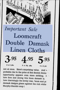 Loomcraft Irish Linen Ad September 1939