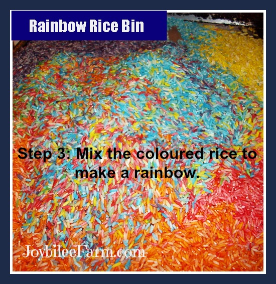 Make a Rainbow Rice Bin for the toddler in your life