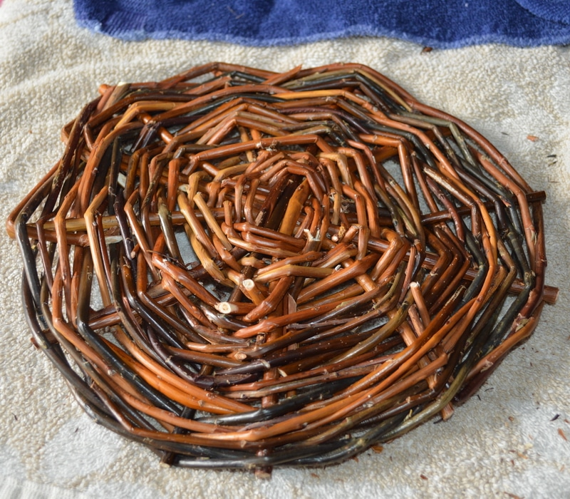 The completed willow basket base