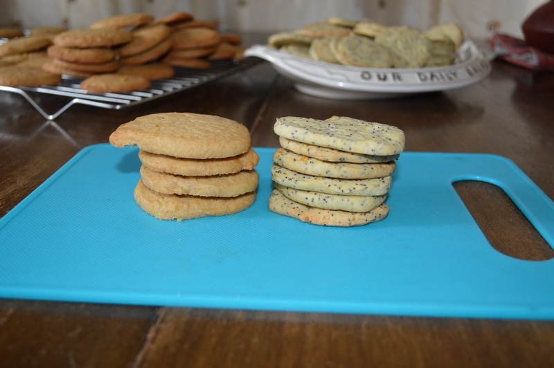 Refrigerator cookies made with regular (left) and gluten-free flours (right)