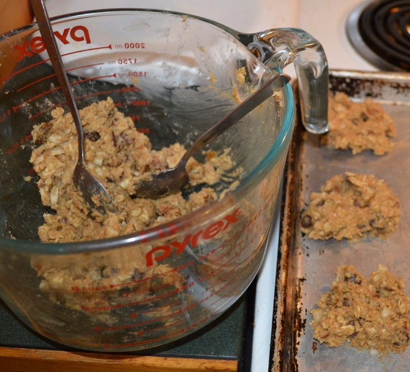 Trail mix cookies mixing
