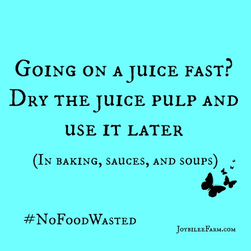 Going on a juice fast? Dry the juice pulp and use it later