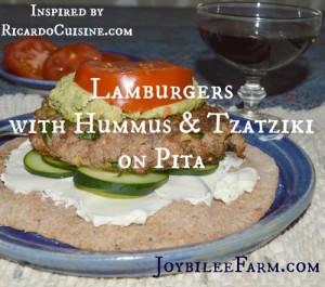 Lamburgers with Hummus and Tzatziki on Pita