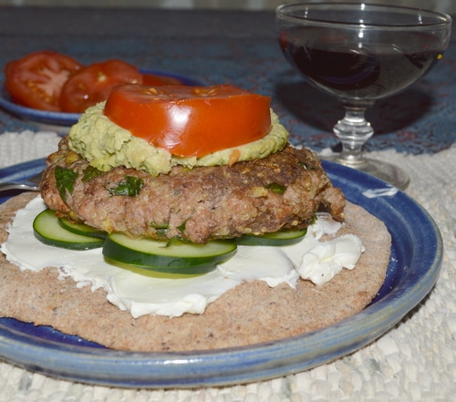 Lamburgers with Hummus and Tzatziki on Pita -- Joybilee Farm