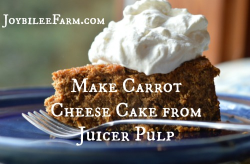 This carrot cheese cake uses the carrot pulp from making carrot juice in the Breville Juice Fountain. To get the pulp, I put the carrots through the juicer, before I add any other fruits or vegetables.