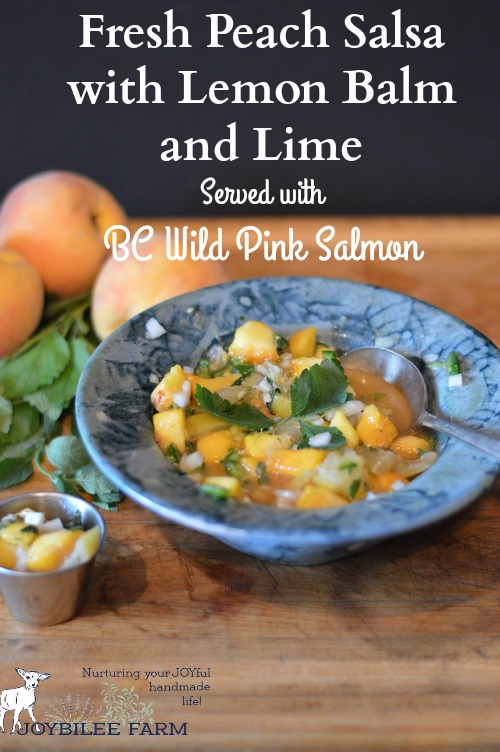 Pink salmon is perfect served with this fresh peach salsa. The juicy fruit and sour-sweet-salty-spicy taste is a perfect complement to the poached fish. Pink salmon has a milder flavour than sockeye or coho salmon, and wears fresh fruit sauces well. How lucky that in BC local peaches and BC wild salmon are in season at the same time!