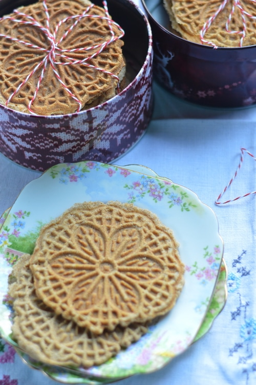 Ginger is a prime digestive. It stokes the inner fire and warms up sluggish digestion, which makes you feel better. Ginger pizzelles are good for upset stomachs and nausea, too. Or just enjoy them as a light snack at any time of day.