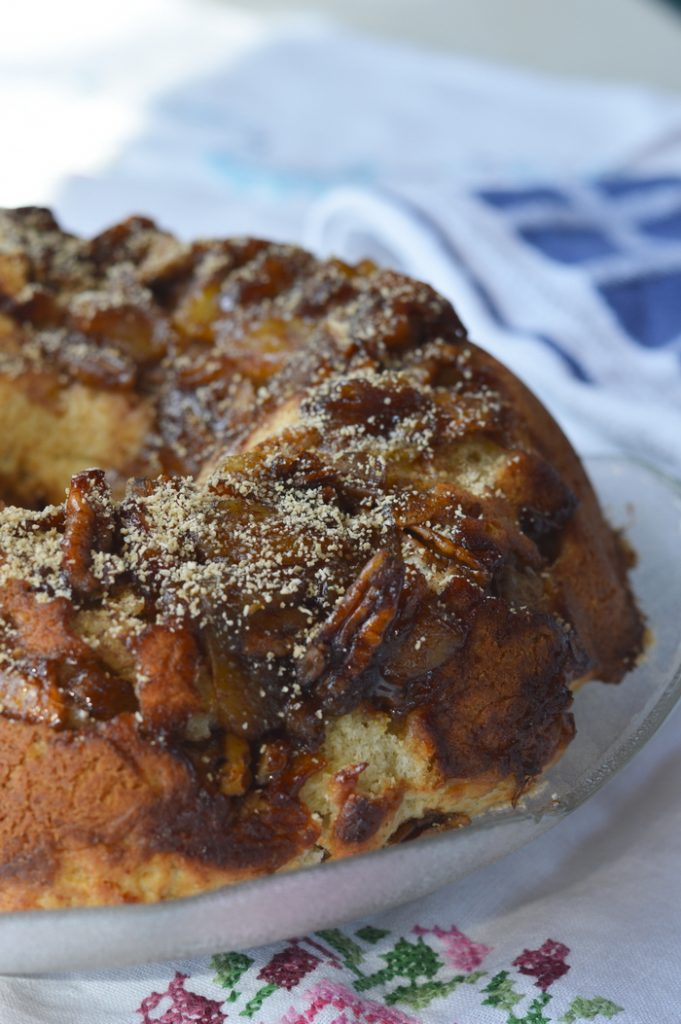 I made up this Maple Apple Bundt Cake to use up the last of our storage of golden delicious apples. If you've got apples from last fall's harvest they will be soft and somewhat shrivelled on the first day of spring. This is the perfect use for those kinds of apples. In fact, my friends were picking the baked apple pieces off the top of the cake while they were waiting for dessert to be served. Win-Win!