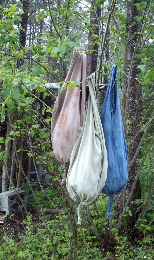 Recycled t shirt bags dyed with homemade dye