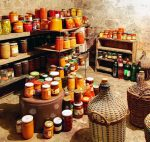 A cellar full of home canned goods.