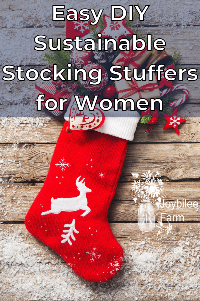 red stocking on a wooden and snow background with presents coming out the top.