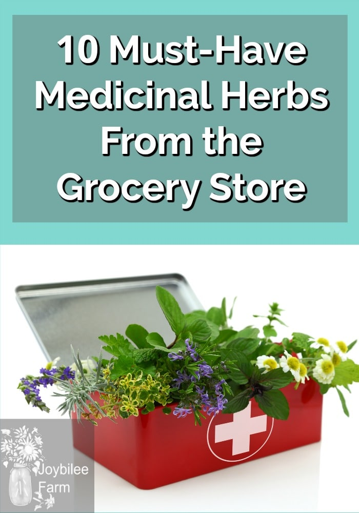 A red first aid kit with herbs and flowers inside