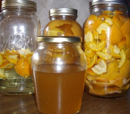citrus cleaner and citrus peels in jars