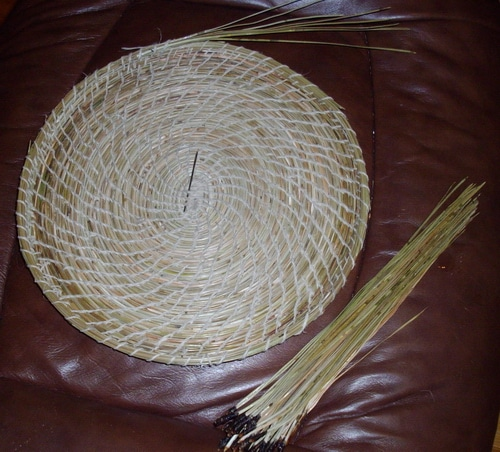 Pine Needle Basket Progress Day 4