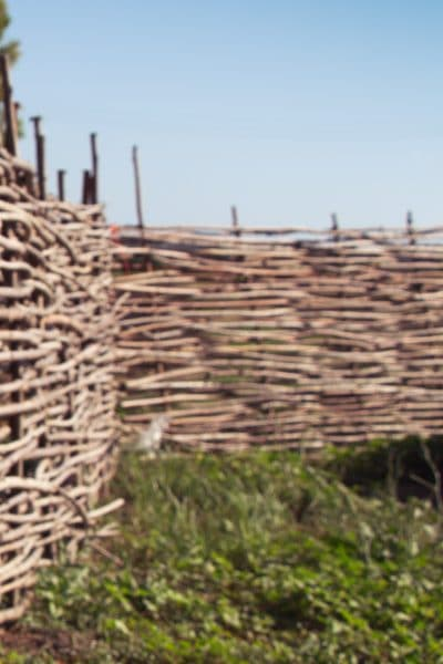 A fence made out of willow branches