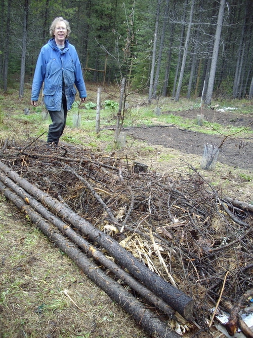 The second layer is wood waste. This can be brush, twigs, logs, whatever you have laying around your homestead.