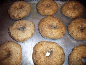 Bagels after boiling