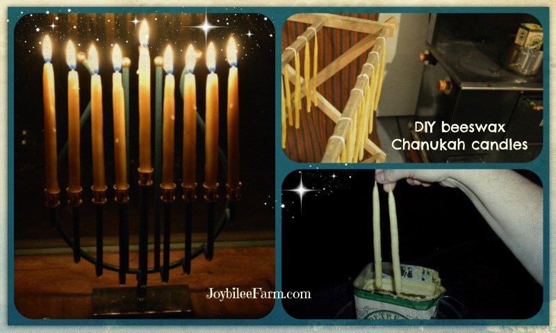 Photo collage of making hand dipped beeswax candles