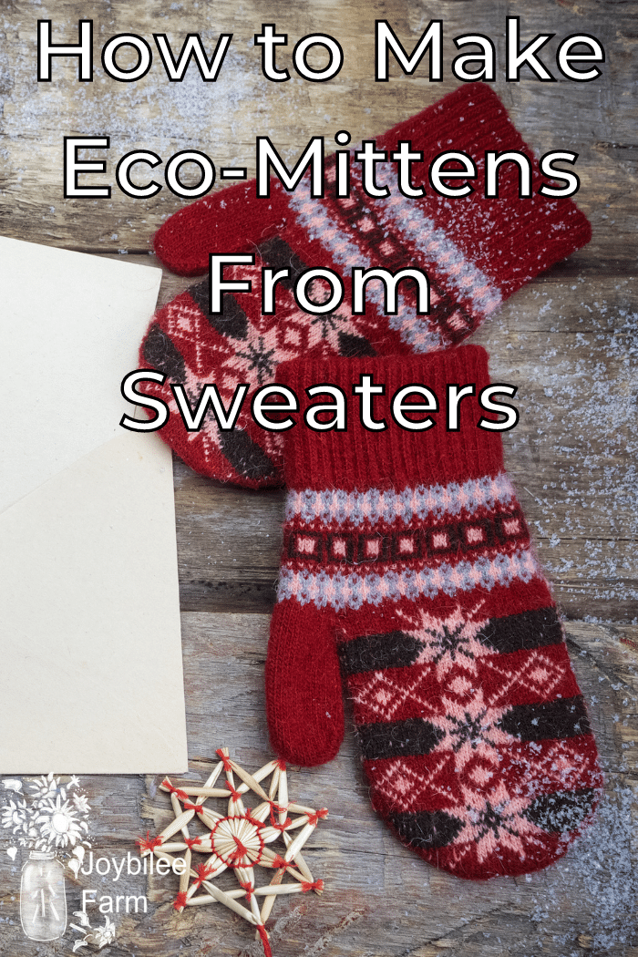 knit mittens on a wooden background