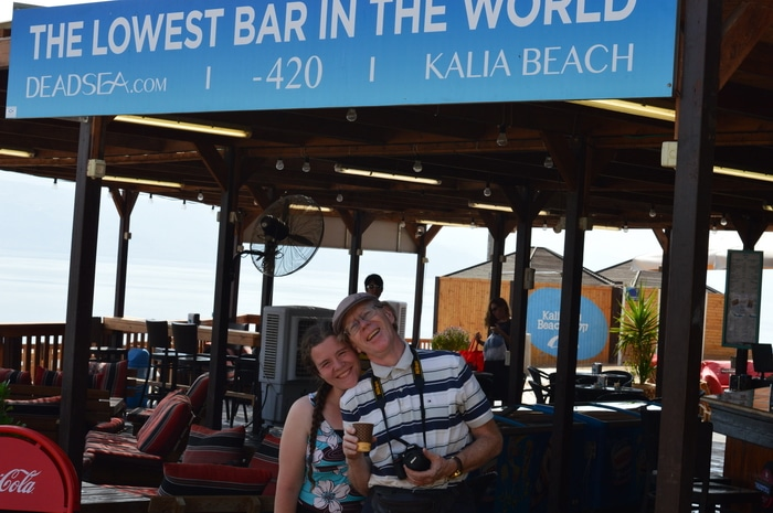 Kalia Beach Dead Sea -- the lowest bar in the world