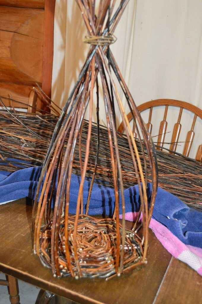 Willow basket making in progress