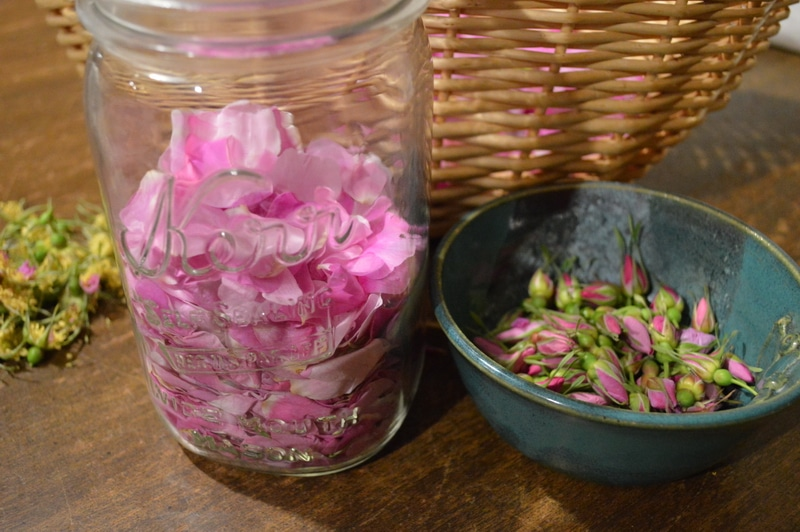Rose honey petals in the jar