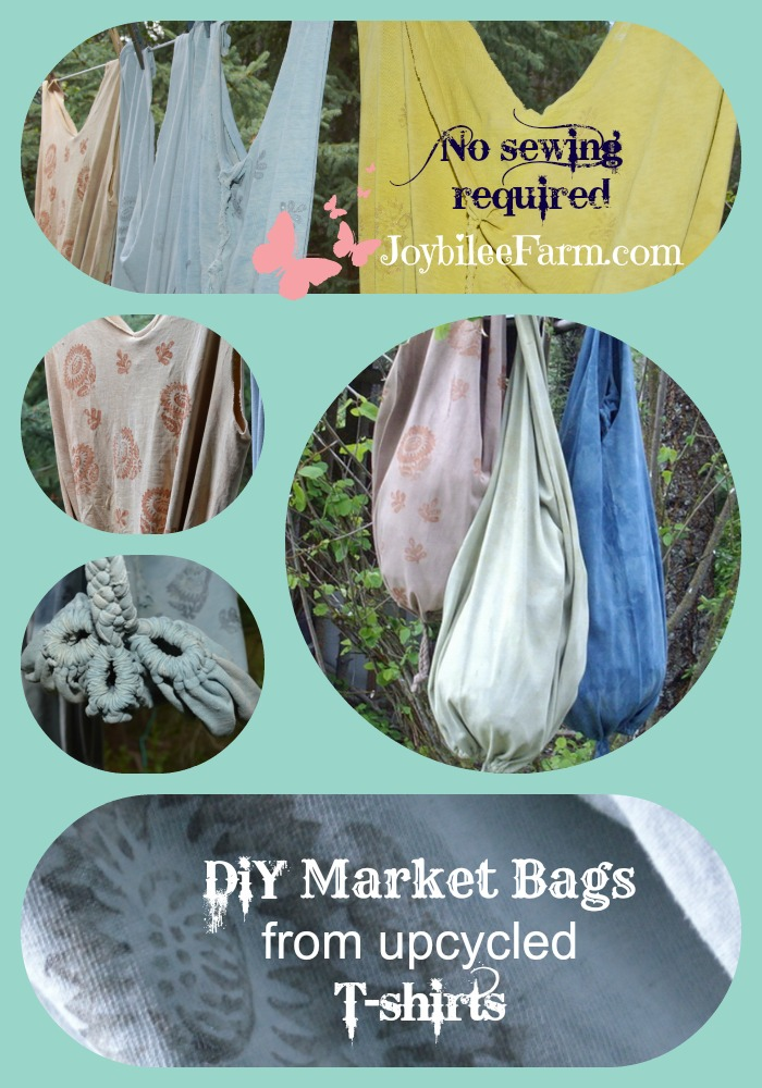 Photo collage of DIY market bags made of t-shirts