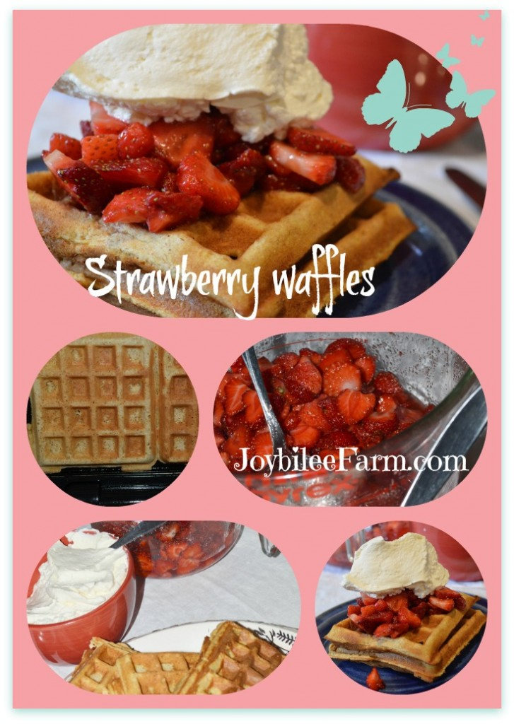 Strawberry waffles photo collage
