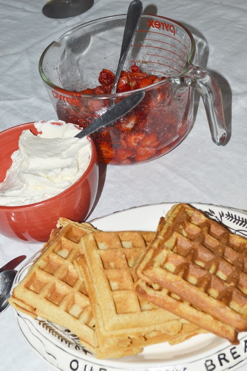 Fresh made waffles, strawberry topping and whipped cream