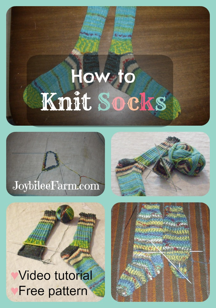 Photo collage of knitting socks