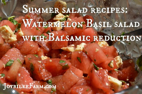 Summer salad recipes Watermelon Basil salad with Balsamic reduction