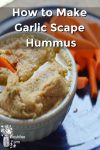 Homemade garlic scape hummus and carrot sticks