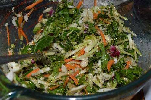 Kale salad with lemon mint dressing