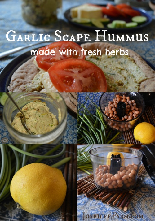 Photo collage of garlic scape ingredients and homemade hummus