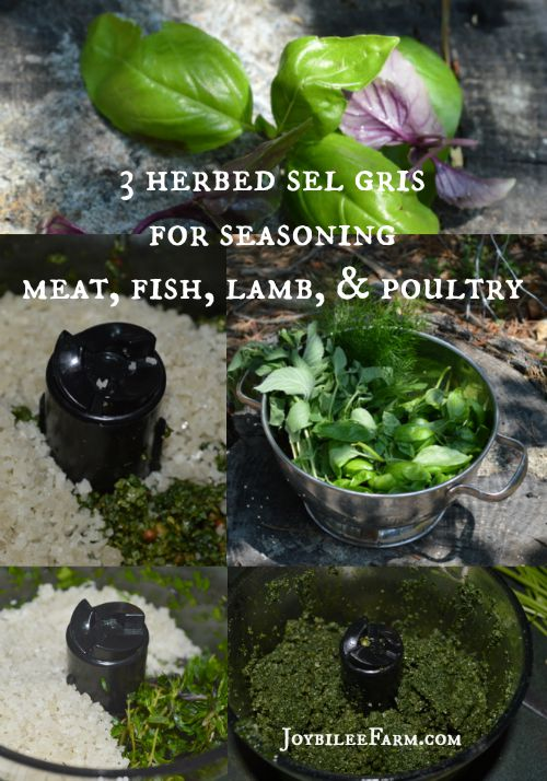 Photo collage of making herb salt