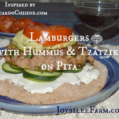 Lamburgers with Hummus and Tzatziki on Pita