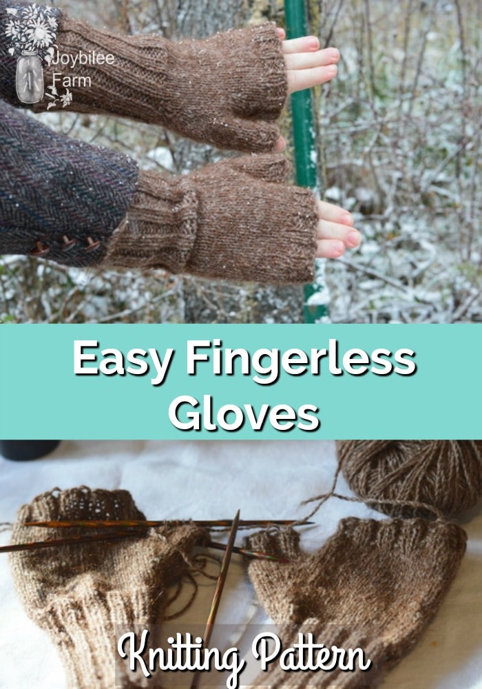 Hands with fingerless gloves and gloves being knitted