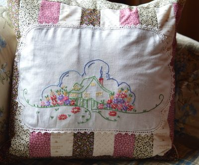 Using Vintage Linen to Make a Patchwork Pillow Cover
