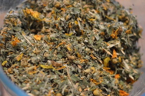 I picked these herbs because I can easily grow them in my zone 3 climate (except ginger which I can buy at the grocery store. There is nothing magical about these specific herbs except that they are local to me. It frustrates me when an herbal recipe calls for exotic ingredients but a common local herb would have sufficed. So use this recipe as a guide for your own herbal alchemy.