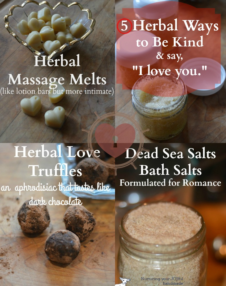 Here are 5 herbal recipes for DiY gifts for Valentines, an anniversary, or anytime you need a little more love, or someone else does. You can make all 5 in just a few hours to show kindness and love to those in your family or for friends. The recipes are easy to double or triple successfully.