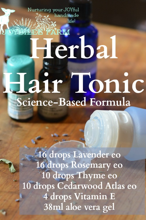 "In this Scottish study the essential oils were used with carrier oils. Patients self-administered the herbal hair loss treatment, massaging the essential oil treatment into the scalp for a minimum of 2 minutes. ""The active group received the essential oils: Thyme vulgaris (2 drops, 88 mg), Lavandula agustifolia (3 drops, 108 mg), Rosmarinus officinalis (3 drops, 114 mg), and Cedrus atlantica (2 drops, 94 mg). These oils were mixed in a carrier oil, which was a combination of jojoba, 3 mL, and grapeseed, 20 mL, oils.""[2] Then they wrapped their heads in a warm towel to increase circulation to the scalp. In this double blind study, 44% of those treated with the essential oils saw improvement in hair regrowth over a 7 month period."