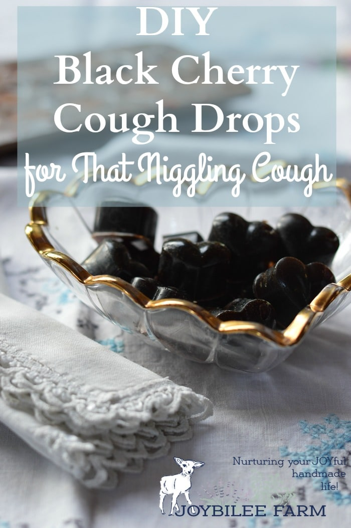 Black cherry cough drops in a glass dish